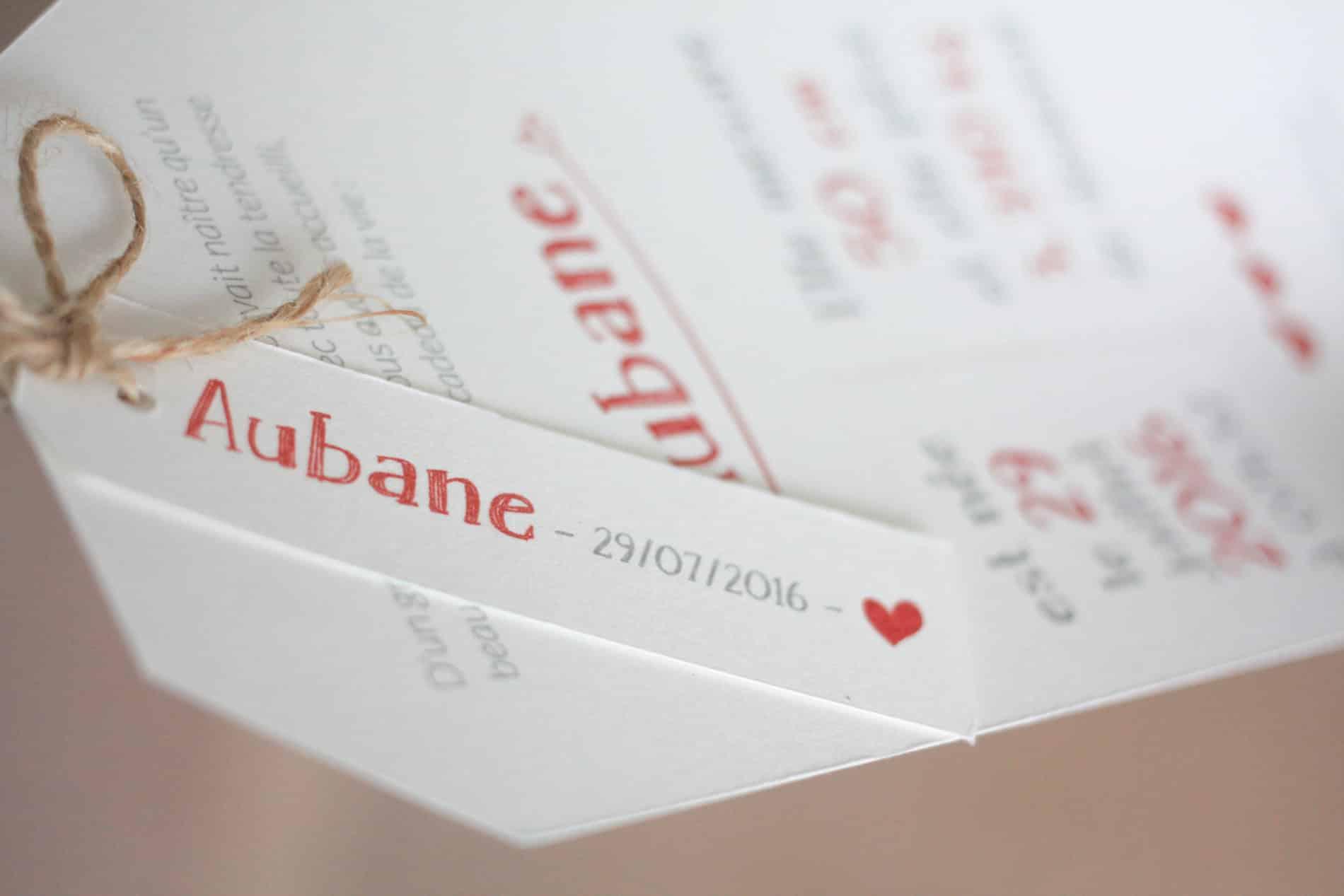 Faire Part Naissance Aubane 1
