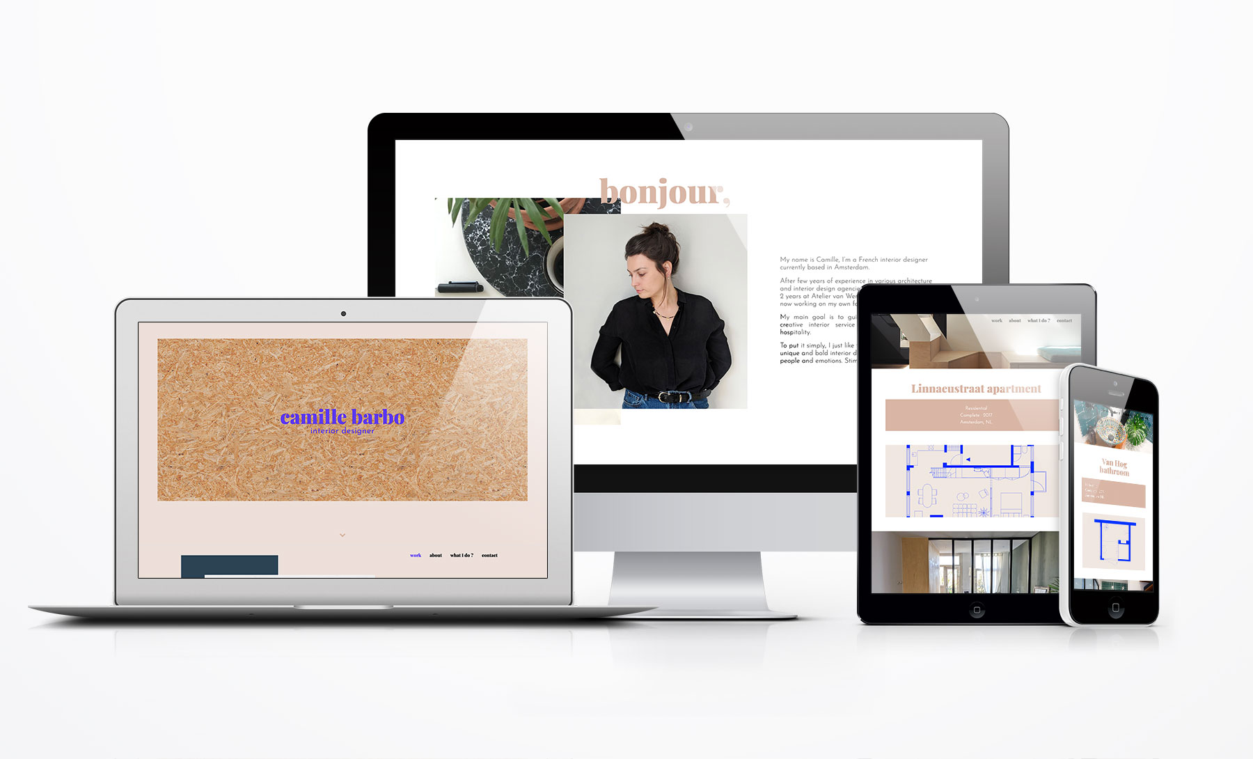 Camille-Barbo website mockup by Rocque Design